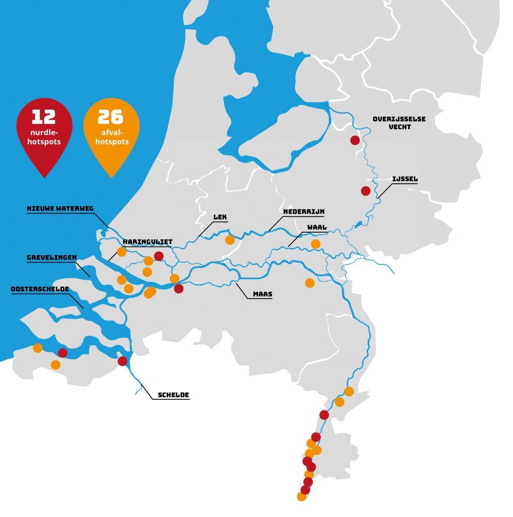 Schone Rivieren afval- en nurdle-hotspots voorjaar 2021